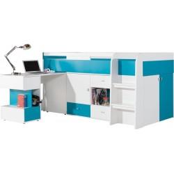 Mobi MO21 łóżko 90 z wysuwanym biurkiem turkus