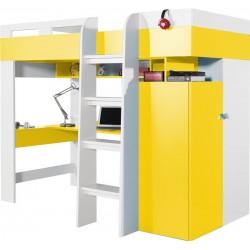 Mobi MO20 łóżko piętrowe z biurkiem żółty