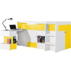 Mobi MO21 łóżko 90 z wysuwanym biurkiem żółty