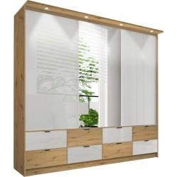MALAGA 200 szafa trzydrzwiowa z lustrem 200 cm z szufladami