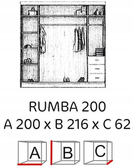 Rumba 200 szafa dwudrzwiowa z lustrem wnętrze
