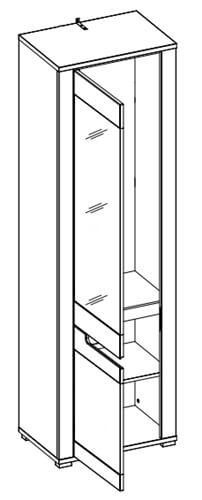 York Y11 szafa z lustrem 58 cm lewa otwarta techniczne