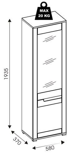 York Y11 szafa z lustrem 58 cm lewa otwarta udźwig