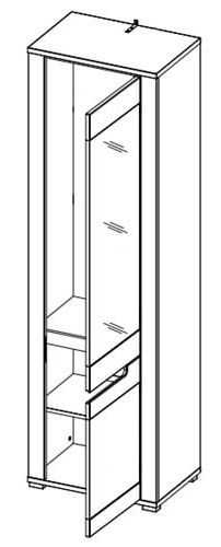 York Y11 szafa z lustrem 58 cm prawa otwarta techniczne