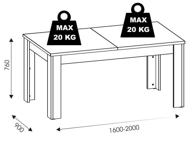 York Y15 stół rozkładany 160/200 cm techniczne