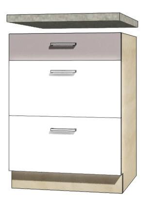 Global glo 10d szafka dolna 60 cm z szufladami sonoma biały połysk szary