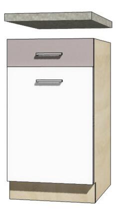 Global glo 3d szafka dolna 45 cm sonoma biały połysk szary