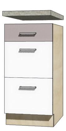 Global glo 8d szafka dolna 40 cm z szufladami sonoma biały połysk szary