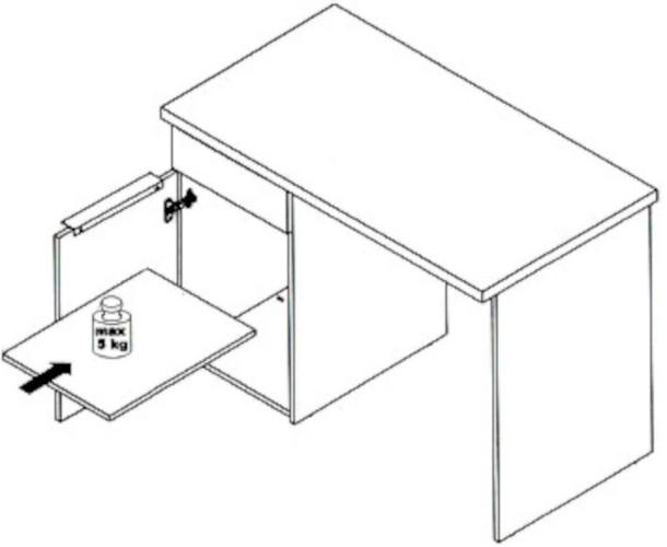 Biurko Opus OPSB313L rysunek techniczny