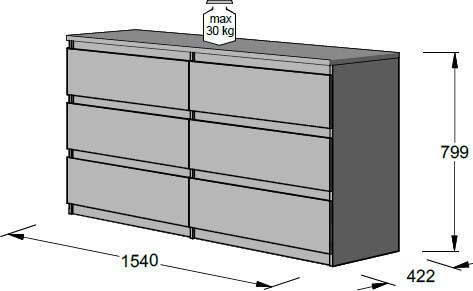 CHELSEA CHLK26 duża komoda 154 cm z szufladami techniczny