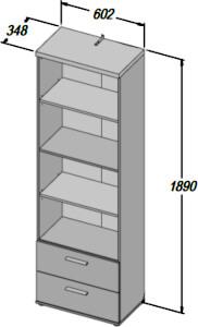 WINNIE WNR82 regał 60 cm z półkami i szufladami wymiary