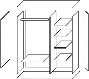 BRUNO 1 szafa 90 cm z półkami wnętrze