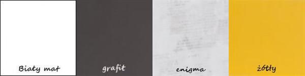 BRUNO 8 biurko 120 cm młodzieżowe biały mat grafit enigma żółty