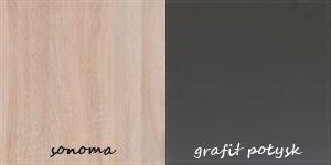 FILL 3 duża komoda 127 cm barek z półkami sonoma grafit połysk
