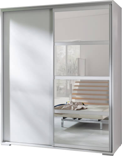 LEO szafa 180 cm przesuwna z lustrem biały