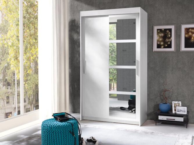 NERO szafa 120 cm z lustrem i półkami aranżacja