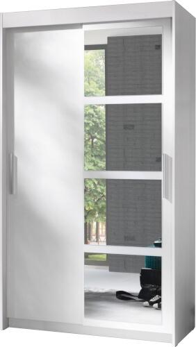 NERO szafa 120 cm z lustrem i półkami biały