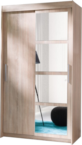 NERO szafa 120 cm z lustrem i półkami sonoma