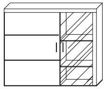 SAMBA 4 witryna wisząca 90 cm z półkami techniczny