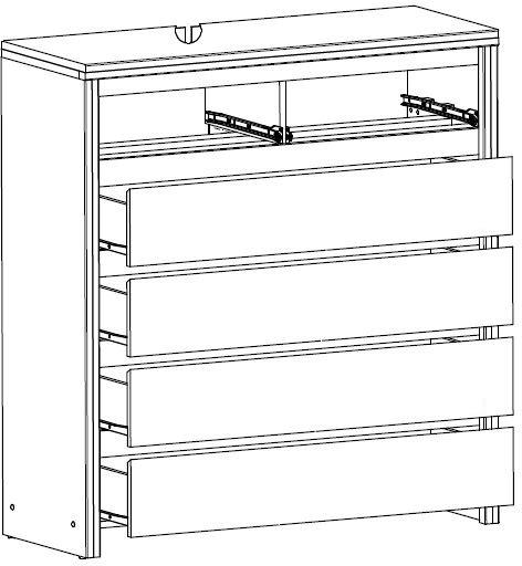 KASPIAN KOM6S komoda 104,5 cm z szufladami techniczny