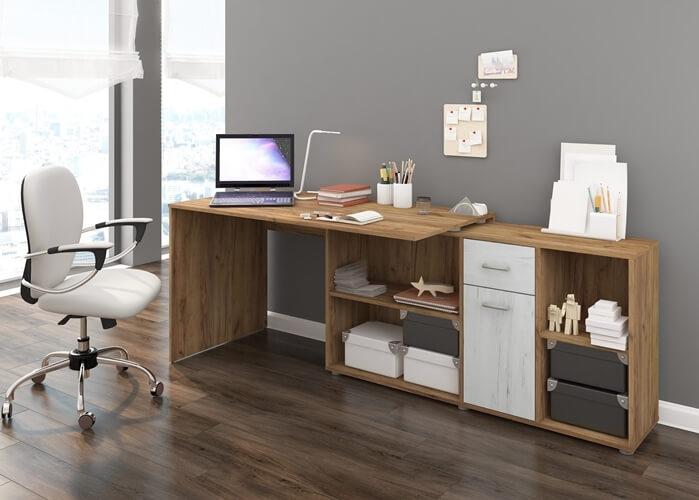 BEAT biurko narożne 137 cm z szufladą i półkami aranżacja