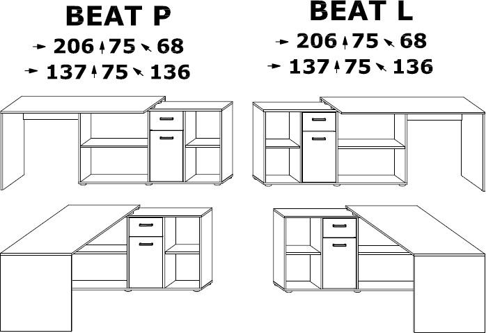BEAT biurko narożne 137 cm z szufladą i półkami techniczny