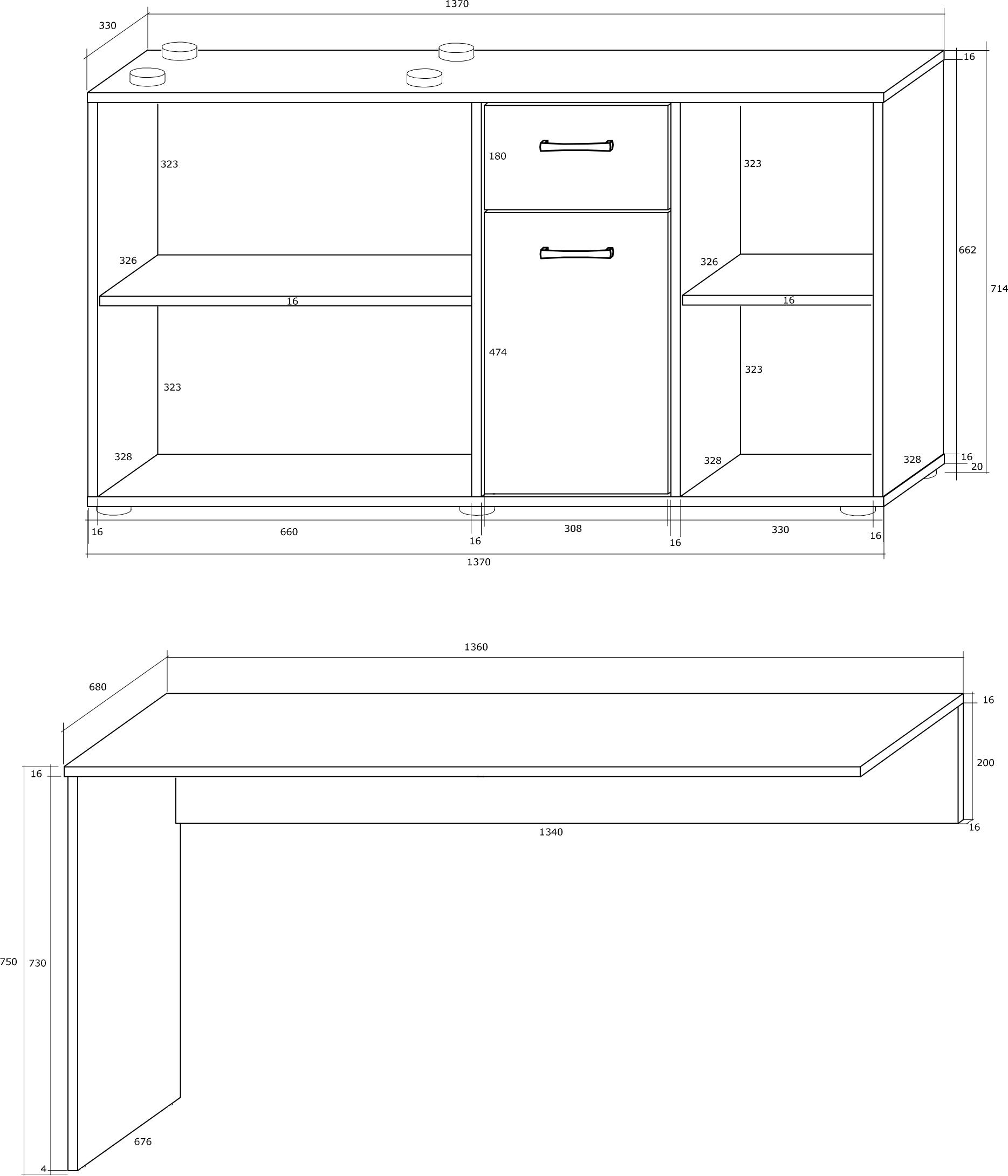 BEAT biurko narożne 137 cm z szufladą i półkami