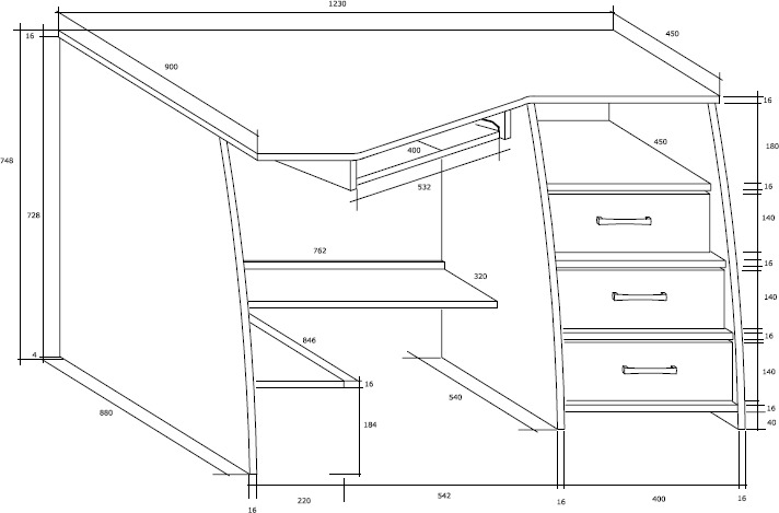 SEVILLA 3L biurko 123 cm narożne z szufladami techniczny