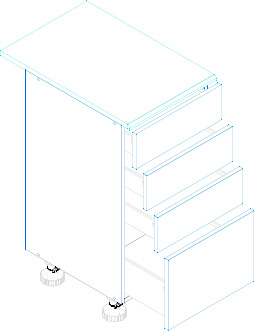 LUNGO&MACCHIATO D40S4 szafka kuchenna dolna z szufladami