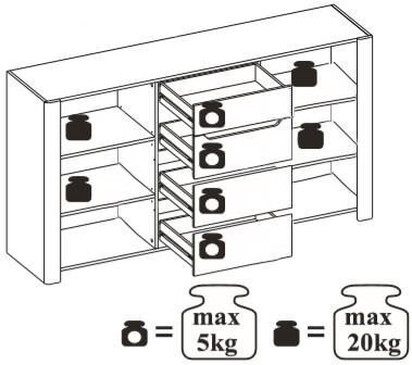 Desjo 10 komoda dwudrzwiowa z szufladami techniczne