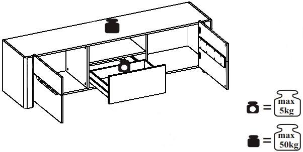 Desjo 20 szafka rtv 170 cm dwudrzwiowa z szufladą techniczne