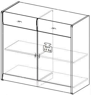 Dover 11 komoda mała 100 cm dwudrzwiowa z szufladami techniczne