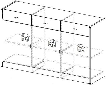 Dover 12 komoda duża 149 cm trzydrzwiowa z szufladami techniczne