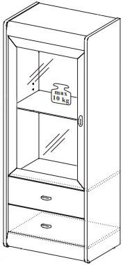 Dover 13 witryna wąska z szufladami dwudrzwiowa techniczne