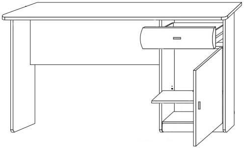 Dover 40 biurko jednodrzwiowe z szufladą techniczne