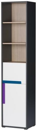 Ikar 01 regał wąski jednodrzwiowy z szufladą grafit biały sosna avola