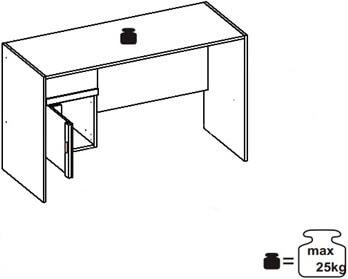 Ikar 40 biurko 124 cm z szufladą techniczne