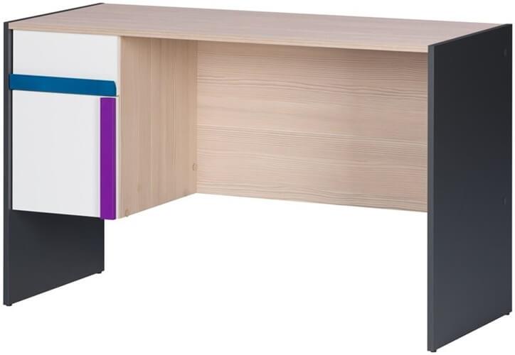 Ikar 40 biurko 124 cm z szufladą grafit biały sosna avola
