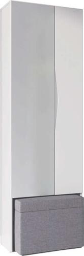 Lucca 08 szafa dwudrzwiowa z lustrem i pufą biały mat savana 96
