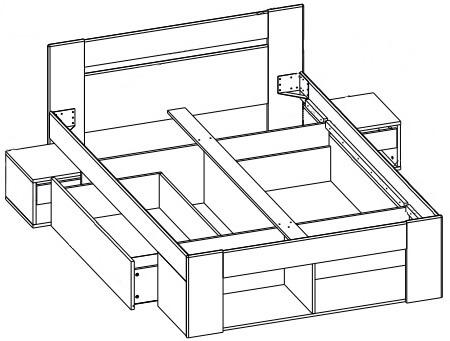 Milo 08 łoże 140 cm + 2 szafki nocne + 2 szuflady techniczne