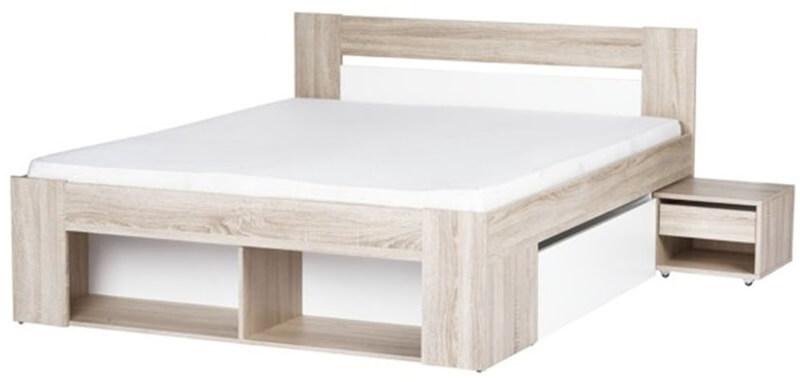 Milo 08 łoże 140 cm + 2 szafki nocne + 2 szuflady dąb sonoma biały