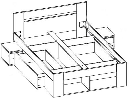 MILO 09 łoże 160 cm + 2 szafki nocne + 2 szuflady techniczne