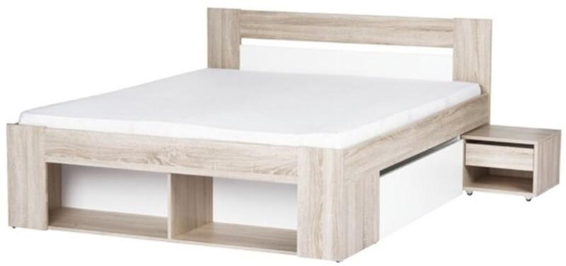 MILO 09 łoże 160 cm + 2 szafki nocne + 2 szuflady dąb sonoma biały