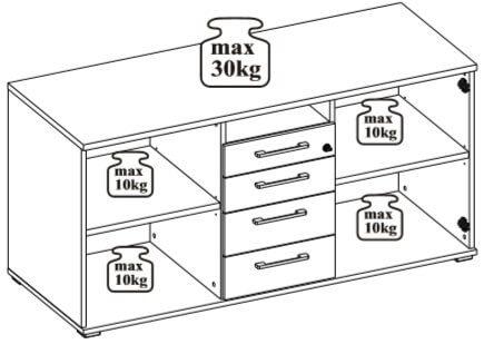 Omega 10 dostawka do biurka udźwig