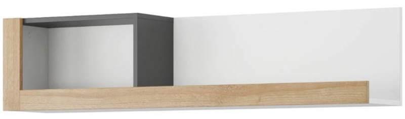 Riva 35 półka dąb riviera biały mat czarny mat