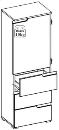 Selene 11 szafka jednodrzwiowa z szufladami techniczny