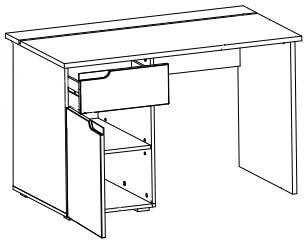 Selene 14 biurko przyścienne jednodrzwiowe z szufladą techniczny