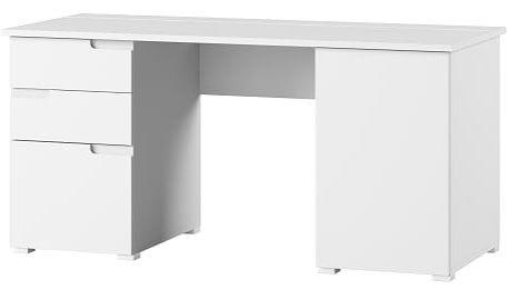 Selene 15 biurko przyścienne dwudrzwiowe z szufladami biały mat biały połysk