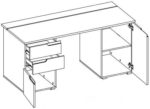 Selene 15 biurko przyścienne dwudrzwiowe z szufladami techniczne