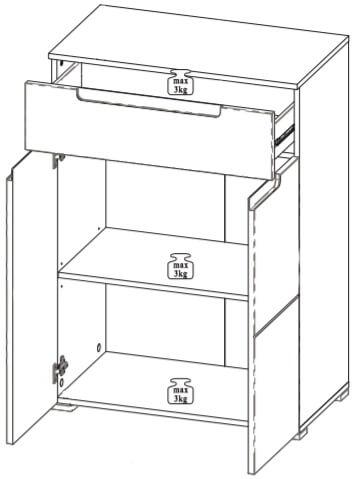 Selene 19 szafka dwudrzwiowa z szufladą techniczny